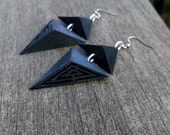 3D Printed Geo Bold Earrings, Black Geometric Triangles with Silver Links