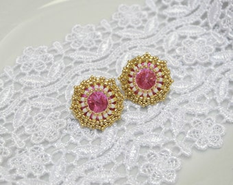 Stud Earring Pink Gold Color Casual Gift for her Prom Party Formal Rivoli Crystal Fancy Classic Art Valentine's Day Girlfriend Git Stockings