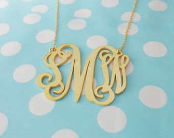 2 inch Monogram Necklace,Gold Monogram Necklace,3 Initial Initial Necklace Charm 18K Gold Plated,Nameplate Necklace Gold,Bridesmaids Gift