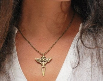 FREE SHIPPING! Wings cross Pendant, Unisex bronze necklace, Wings Mens Jewelry, Mini necklace, Tiny necklace, Mens necklace, gift for him
