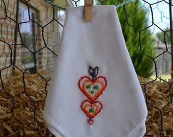 Heart Embroidered Handkerchief