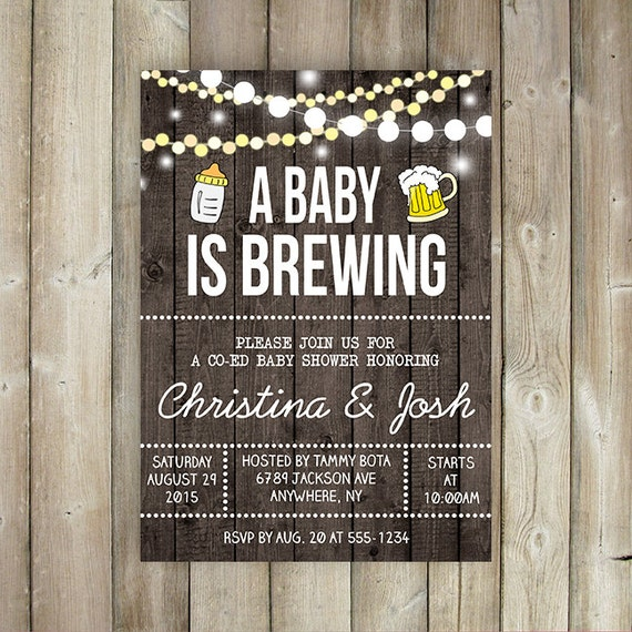 A BABY is BREWING Baby Shower Invitation Co-Ed Baby Shower
