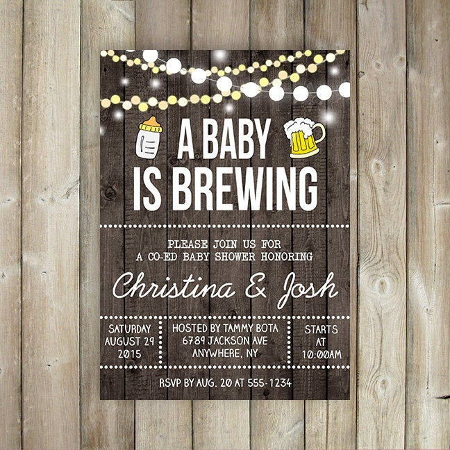 a baby is brewing baby shower invitation co-ed baby shower,