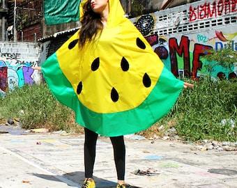 Watermelon waterproof Rain Poncho,Cape with Hood, Nylon Rain Jacket, Yellow with Free Watermelon bag.