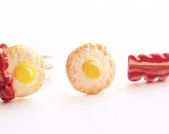 Bacon and egg jewelry set,Bacon and egg earrings,Bacon and egg ring,bacon and egg charm,Food ring,Food jewelry set,Bacon and egg studs