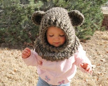 Crochet Cowl Pattern 120 - Crochet Pattern Hooded Cowl with Ears  - Wolf Cowl - Fox - Cat - Bear - Animals Hat - Winter Hat - Neck Warmer