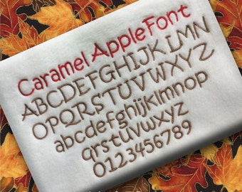 Caramel Apple BX Font Alphabet Lettering Machine Embroidery Design Pattern INSTANT DOWNLOAD Digital File Fall Autumn Halloween Thanksgiving