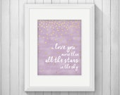 I Love You More than All the Stars in the Sky Nursery Wall Art Printable, Lavender Purple & Gold Star Baby Shower Gift, Bedroom Decor, Print