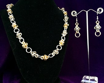 Silver Gold 2-Piece Chainmaille Jewelry Set - Earrings & Necklace - Aluminum - Orbital Odyssey - Chainmail Jewelry