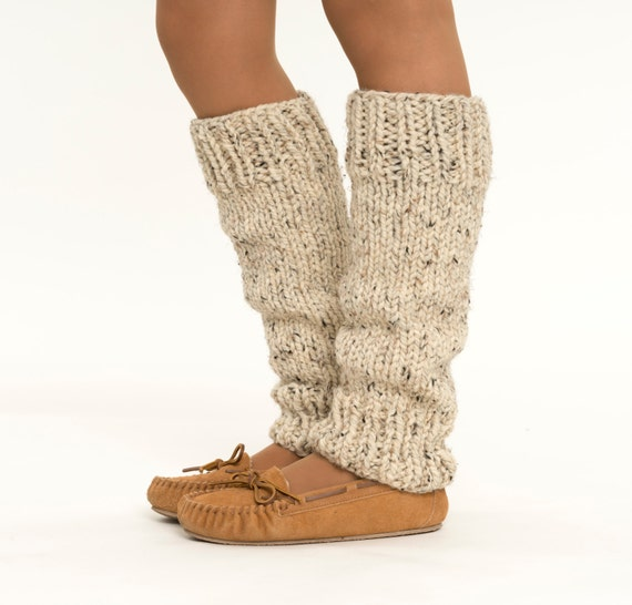 Knitting Pattern Leg Warmers Bulky Yarn : Chunky Knit Wool Leg Warmers Handmade Knitted Leggings Ankle