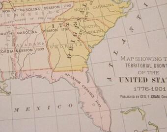 Antique Us Map Etsy - John wallis map of the us