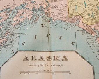 1901 Alaska Antique Map