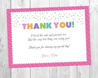 Cupcake Birthday Thank You Card- Sweet Sprinkles Birthday - First Birthday - 1st Birthday - Instant Download