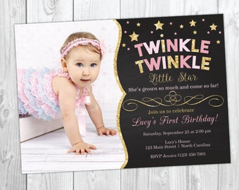 Twinkle Twinkle Little Star Birthday Invitation / Twinkle Twinkle Invitation / Twinkle Star Invitation / First Birthday / 1st Birthday