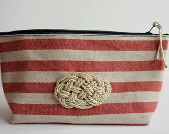 Cotton pouch with zip-Lines and nautical knot