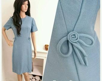 Vintage 60s Rozlynne London Blue A line Wool Shift Dress Madmen / UK 12 14 / EU 40 42