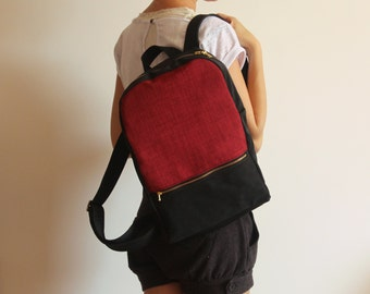 MILAN red backpack - Women's backpack - Red handbag / Red backpack - Red bag / School backpack - Vegan bag / Vegan leather  backpack
