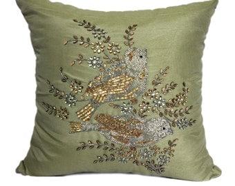 Bird Pillows Bird Pillow Cover Love Birds Pillow Cover Love Birds Euro Sham 16x16 18x18 20x20, 22x22 24x24 26x26 inches,