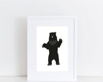 Black bear print minimal bear bear nursery art nursery for Minimal art silhouette