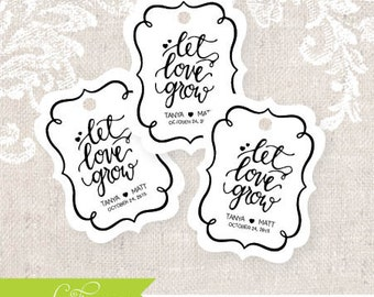 Let Love Grow Tag, Wedding Favor Tag, Party Favor, Shower Favors, Candy Tag, Wedding, Tags, Rustic, Classic, Let Love Grow, Tags, I do (1)