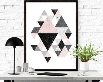 Printable Wall Art, Geometric Art, Scandinavian Print, Printable Abstract Art, Triangle Print, Abstract Wall Art, INSTANT DOWNLOAD ART