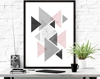 Digital Download, Geometric Print, Triangle Print, Printable Abstract Art, Scandinavian Art, Boho Art, Graphic Print, Abstract Wall Art
