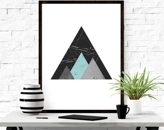 Abstract art, Mountain wall decal, Black wall art, Scandinavian modern, Triangle wall art, Wall decor, Mountain art, Geometric wall art