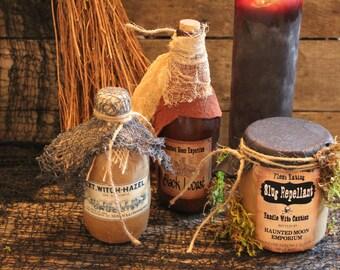 "Halloween Potion Bottle Set, ""Black Locust"" ~ ""Witch Hazel"" ~ Slug Repellant"", Apothecary Set, Halloween Decoration, One-Of-A-Kind, Unique"