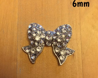 6mm silvery bow with sparklies plugs for stretched ears *vintage*