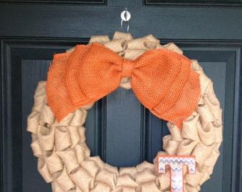 Fall Burlap Bubble Wreath - Fall Burlap Wreath