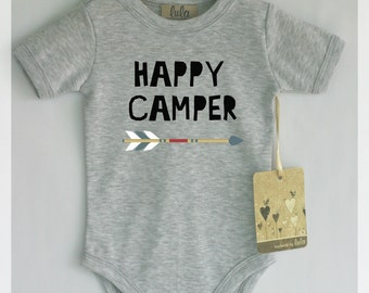 Happy camper baby bodysuit. Modern baby clothes, many colors available.