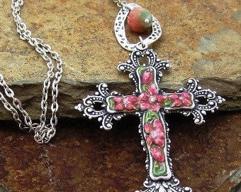 Rose Cross Pendant Necklace, Rose Cross Necklace, Religious Jewelry, Summer Jewelry, Fall Harvest Jewelry, Christian Pendant