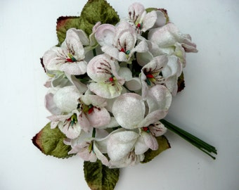velvet flower posy. viola velvet posy. viola posy Meringue by Miss Rose Sister Violet. millinery flower posy. craft flower posy.