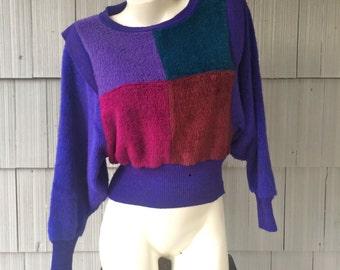 Vintage 80s era 20 Ans Knits by Mariea Kim Purple Color Block Fuzzy Sweater / Dolman Batwing Sleeves / Women's Size Medium