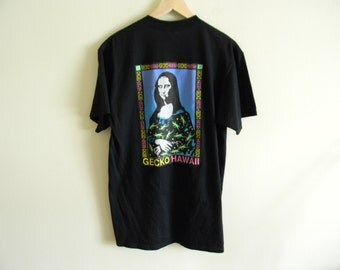 "1992 Vintage Gecko Hawaii ""Mona Lisa"" surf t-shirt 