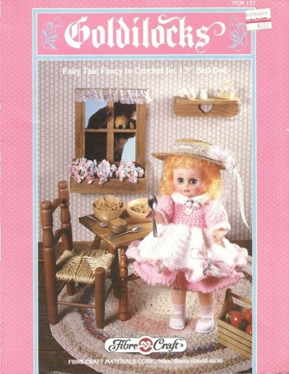 Items similar to goldilocks doll costume vintage crochet for Fibre craft 18 inch doll