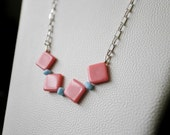 15% OFF SALE A Pink Necklace - geometric necklace, sterling silver necklace, vintage bead necklace