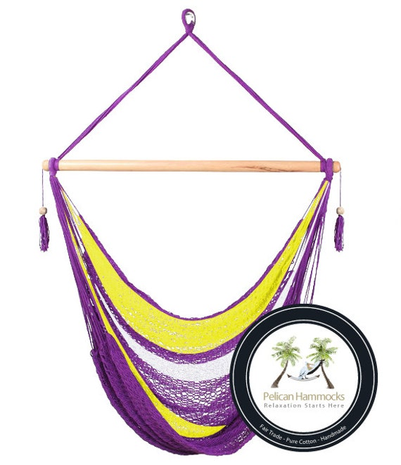 Purple Striped Hammock Chair - 100% Hand Woven - Perfect for one child, teen or adult!
