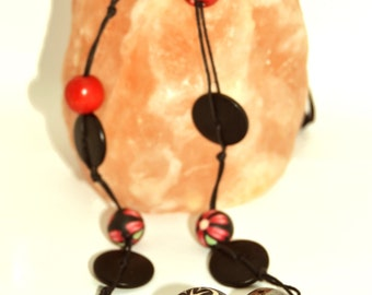 """Red and black"" necklace"
