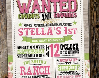 Vintage Cowboy Invitation, boy birthday, cowgirl, rodeo, western invitation, retro, wanted poster, rodeo poster, cowgirl, horse, invite