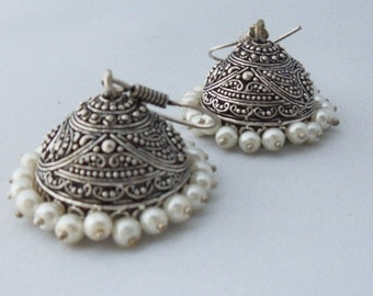 Silver Dangling Earrings with Pearls - Traditional Indian