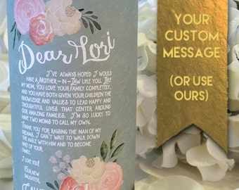 Gift for Mother-in-Law & Mother of the Bride / Mother of the Groom / Father of the Bride and Groom- custom candle or wine label- Sage Green