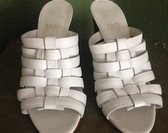 Never-worn 90's white summer Ferragamo heel