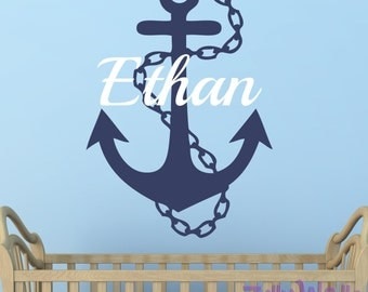 Name decal Nautical wall decal Anchor decal