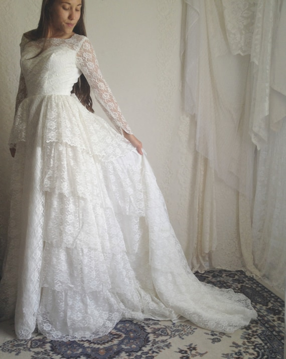 60s lace ruffle wedding dress vintage by for Vintage wedding dress 60s