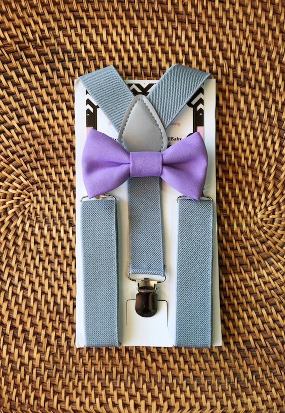 lavender bow tie amp grey suspender set lavender ring bearer