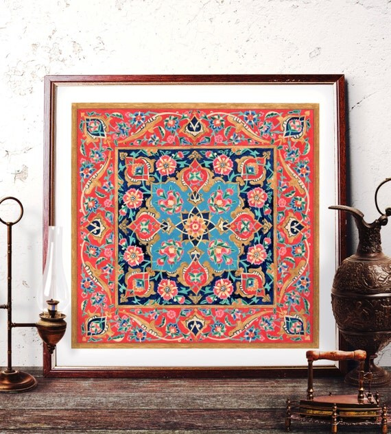 Traditional Ottoman Tulip Watercolor Wall Art Turkish Floral: Traditional Turkish Tile Wall Art Ottoman Floral Watercolor