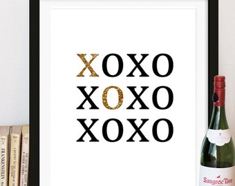 XOXO Print - Black and Gold Love Art Print - Typography - Minimalistic - Home Decor