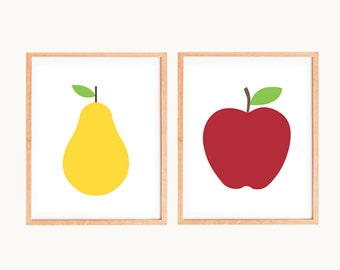 Apple and Pear Fruit Prints - Set of Two Retro Kitchen Prints - Scandinavian Mid Century Modern Kitchen Art