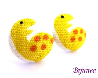Dinosaur stud earrings - Dinosaur post earrings - Yellow dinosaur studs - Dinosaur posts - Dinosaur earrings sf546
